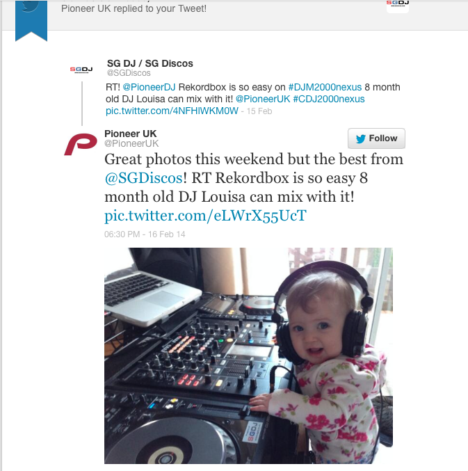 DJ Louisa spotted by Pioneer DJ on twitter